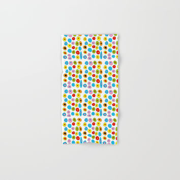 multicolor 3 polka dot-polka dot,pattern,dot,polka,circle,disc,point,abstract,kitsch Hand & Bath Towel by oldking