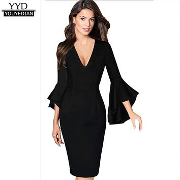 63db15c8890 2017 New Arrival Autumn Womens Sexy Deep V-neck Flare Bell Long