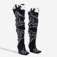 Kelsey 21 Slouchy Black Western Thigh High Boot