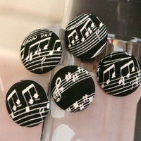 Fabric Buttons, Fridge Magnets, Music Magnets, Covered Buttons, Music Buttons, Black Buttons,  Cloth Buttons, Flat Backs, 1.1 Inches 5's