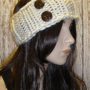 Knit Headband Ear Warmer Hand Knit Beige Cream White Woodsy Chunky Ribbed With Buttons