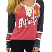 Chicago Blackhawks Wideneck Raglan | SportyThreads.com