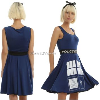Licensed cool BBC DR Doctor Who Cosplay Costume TARDIS Skater Dress Police  Box M-XL NEW