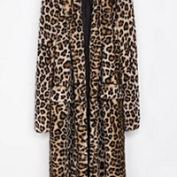 Leopard Faux Fur Long Coat Faux Rabbit Fur Jackets Lapel collar Long Sleeve Outerwear Loose Overcoat