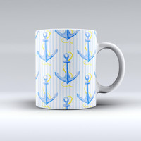 The Striped Blue and Gold Watercolor Anchor ink-Fuzed Ceramic Coffee Mug