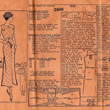 Rare 1930s Anne Adams Sewing Pattern 2606 Sleeveless Ankle Length Dress Open Back Great Gatsby Garden Style Bust 32