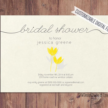 Simplistic Sunshine Tulip Bridal Shower Invitation - Baby Shower Party - Yellow Bright Flowers Simple Sweet Love Fun - Printable DIY (011)