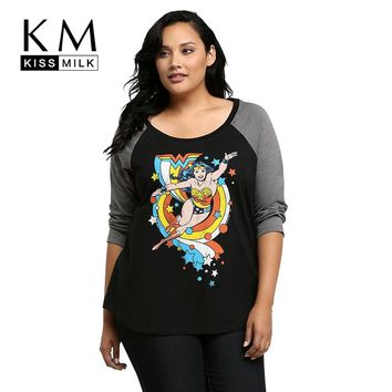 Kissmilk Fashion New Plus Size Women Clothing Crewneck Long Sleeve Basic T Shirt Graphic Simple Soft Big Size T-shirt 3XL-6XL