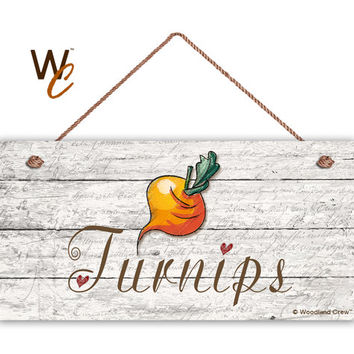 """Turnips Sign, Garden Sign, Rustic Decor, Distressed Wood, Weatherproof, 5"""" x 10"""" Sign, Vegetable Sign, Gift For Gardener, Made To Order"""