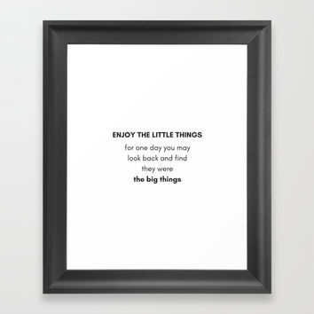 ENJOY THE LITTLE THINGS - GRATITUDE Framed Art Print by Love from Sophie