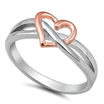 .925 Sterling Silver and Rose Gold Open Heart Infinity Ring Ladies Size 4-10