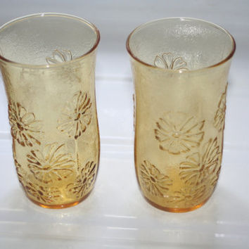 Retro Amber Flower Glasses,Vintage Glassware