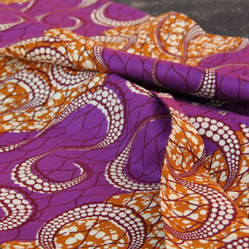 "Radiant Orchid Octopus Print BATIK Ankara, African wax print fabric / Purple, Brown, White / 1 yard x 46"" /Tribal African Fashion Supplies"