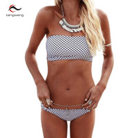 Black and White Bandeau Padded Bikini Swimsuit
