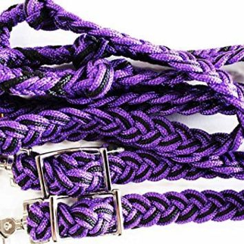 Roping Knotted Western Barrel Reins Nylon Braided Purple Horse tack Rodeo 60776