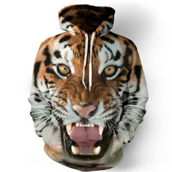 3D Tiger Womens Hooded Sweatshirt Hoodies
