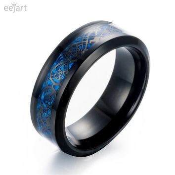 eejart Black 316L Stainless steel Ring Wedding Band blue Carbon Fiber des Nibelungen Dragon rings for men