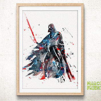 Darth Vader, Star Wars - Watercolor, Art Print, Wall Art, Gifts for Him, Home Decor, Watercolor Print, Star Wars Poster