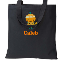Embroidered Black Orange PUMPKIN HALLOWEEN Trick or Treat Bag Basket Candy Cute Bag Costume Monogrammed Personalized Name Initials