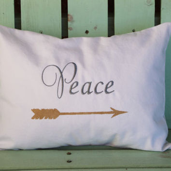 new 12x16 Peace embroidered Christmas pillow- holiday gift-decorative cover-gifts under 30-throw pillow-accent pillow