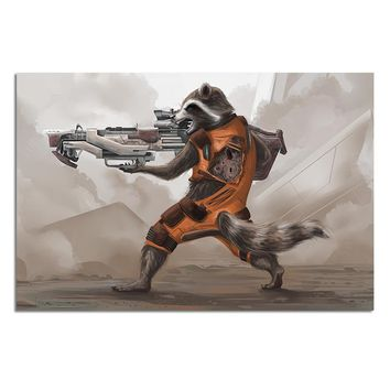 Guardians of the Galaxy Raccoon Poster Marvel Comics Art Prints Rocket Raccoon Abstract Drawing Picture Wall Art Decoration