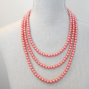 Peach necklace, 3 strand necklace, Bridal necklace, Pearls necklace, Bridesmaid necklace, Wedding necklace, Bridesmaid jewelry