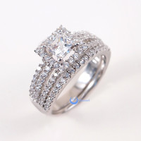 0.6ct Princess Cut Solitaire CZ w/Accent Engagement Wedding Rings Set Silver