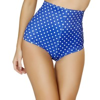 Pinup Style High-Waisted Shorts - Blue/White Polkadot