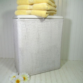 Vintage White Wicker Light Weight Petite Clothes Hamper with Padded Vinyl Lid - Ultra Shabby Chic Laundry Bin - Chippy Paint Project Piece