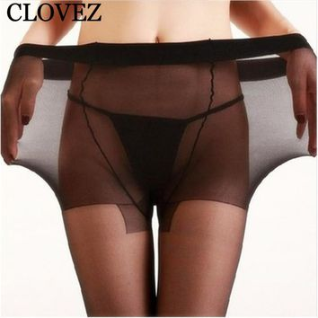 CLOVEZ 2017 Fashion Sexy Thin Seamless Plus Size Tights Pantyhose Black Nylon Super Elastic Stocking For Women Collant Femme