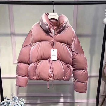 Day-First™ Moncler Women Fashion Logo Embroidery Long Sleeve Zip Cardigan Turtleneck Bread Down Jacket Coat