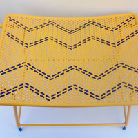 Chevron Bench Vanity Stool Seat Chair Yellow Gold Blue Vintage Metal Boys Girls Room Paint Dipped Legs Curved Top Handles Retro Pop of Color