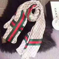 GUCCI Scarf Women Fashion Cloister Fabric Satin Scarf B-XLL-WJ