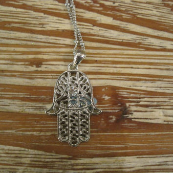 Hamsa Hand Necklace - Silver Engraved Hamsa Hand Necklace - Hamsa Necklace - Evil Eye Necklace - Hand Necklace