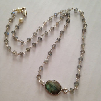 "Labradorite Necklace, ""Heavenly"" , Iridescent, Beaded, Rosary Style, Sterling Silver"