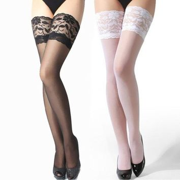 2017 Women Black Over The Knee Tights Skin Color Stockings Ultrathin Transparent Sexy Lace Floral Thigh High Silk Pantyhose