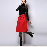 Bow Belted Midi A-Line Skirt
