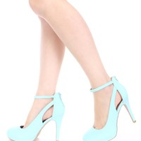 Mint Ankle Strap Cut Out Heels Nubuck Faux Leather