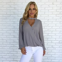 Polished Wrap Blouse in Grey