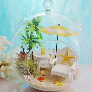 "Margarita Monday  Terrarium ~ Adirondack Table and Chair ~ Umbrella ~    2 Air plants ~ 8"" Glass Round Globe ~ Beach Decor ~ Great Gift ~ XL"