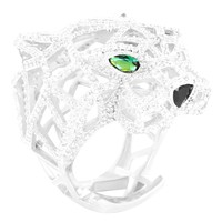 Men's Sterling Silver Green Ruby Panther Custom Ring