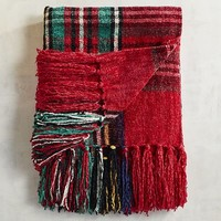 Stewart Plaid Red Chenille Throw
