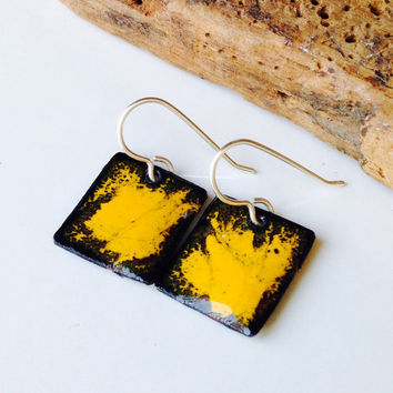 Etsy, Etsy Jewelry, Enamel Earrings, Enamel on Copper, Abstract Earrings, Mustard Yellow Enamel, Square Earrings, Dangle Earrings, Artisan