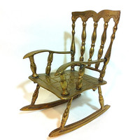 Vintage Rocking Chair Miniature Chair Metal Doll Chair Brass Chair Gold Chair Metal Rocking Chair Old Chair Antique Chair Country Chair
