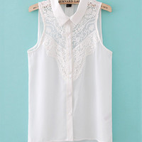 Shirt Collar Lace Crochet Chiffon Sleeveless Top