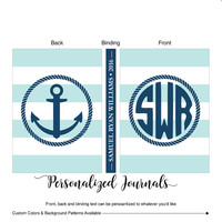 Personalized Journal Diary, Christmas Gift for Boys Birthday Gift Nautical, Christmas Gift Ideas | Lined Journal | Custom Colors - WLP00900