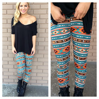 Teal & Orange Texan Leggings