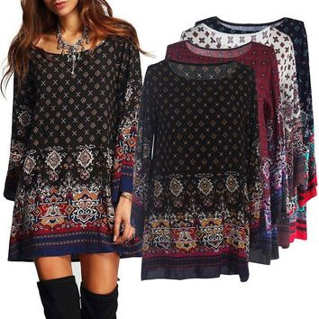 Women Summer Crew Neck Long Sleeve Floral Loose Casual Mini Dress Tops Shirt