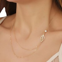 SUNNOW Simple Vogue Pearl Alloy Leaf Multilayer Short Necklace