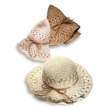 GGOMU New summer Hand Crochet Hollow Flower Sun Hats for women bowknot wide brim fashion girls straw hat beach hat ZLH-028
